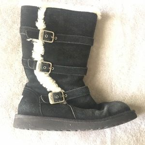UGG Black Boots With Side Buckles Size 6